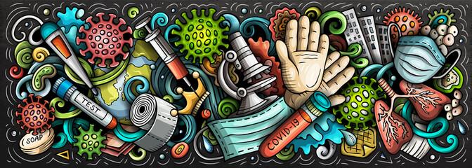 Coronavirus hand drawn cartoon doodles illustration. Colorful vector banner Papier Peint