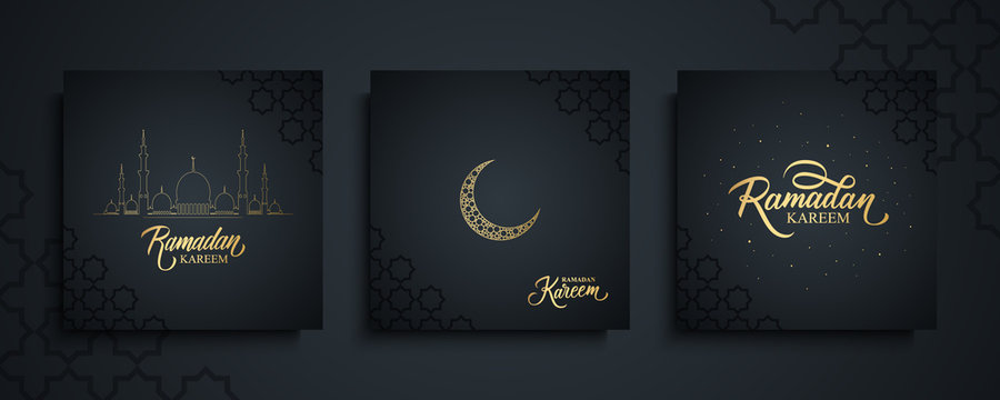 Ramadan Kareem celebrate cards set. Ramadan islamic holiday invitations templates collection with gold crescent moon, hand drawn lettering and mosque. Vector illustration.