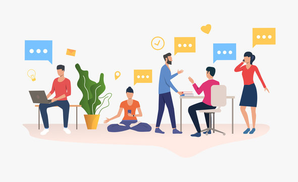 People working in modern office. Workplace, worker, technology concept. illustration can be used for topics like business, communication, coworking space