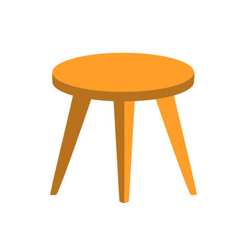Hand drawn flat round table or stool with three legs in light brown color with shadows. Wooden furniture, household item, interior, coziness. Stock vector illustration isolated on white background.