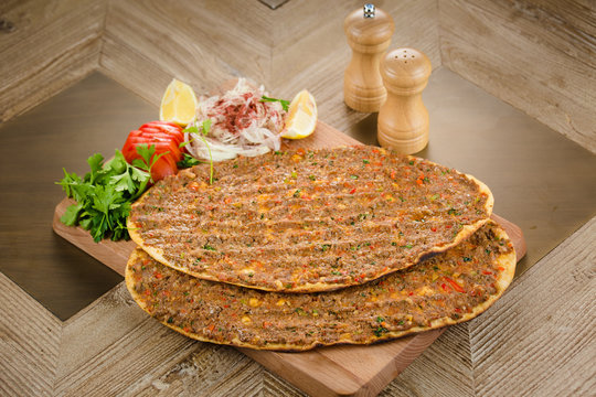 Plate of Traditional Syrian Manakish, Arabic Cusine