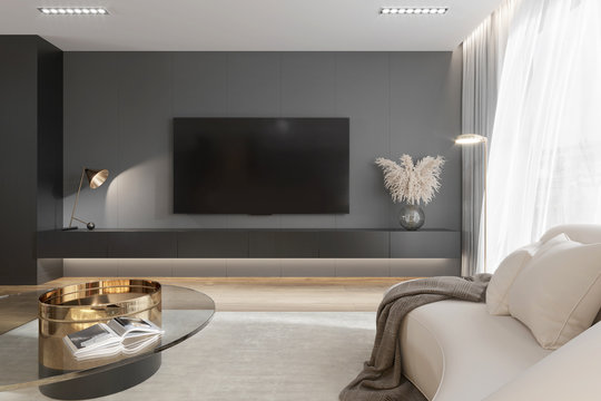 3d interior of a modern grey living room with tv systerm