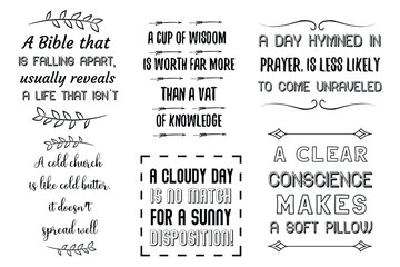 Set of six Christian quotes. Vector illustration