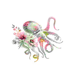 octopus with a bouquet of delicate flowers, watercolor illustration on a white background