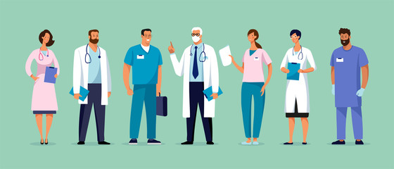 Set of male and female characters of doctors. Surgeons, doctors, nurses. Conceptual illustration, hospital medical team, poster. Vector template for design Wall mural