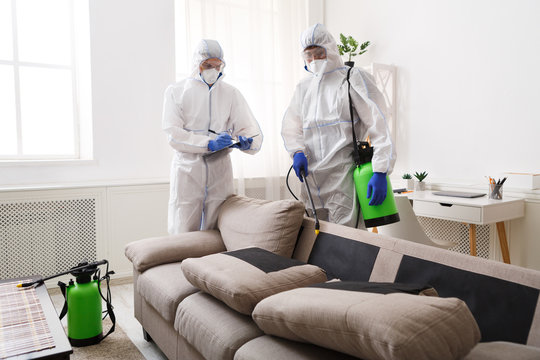 Home disinfection by cleaning service, surface treatment from coronavirus