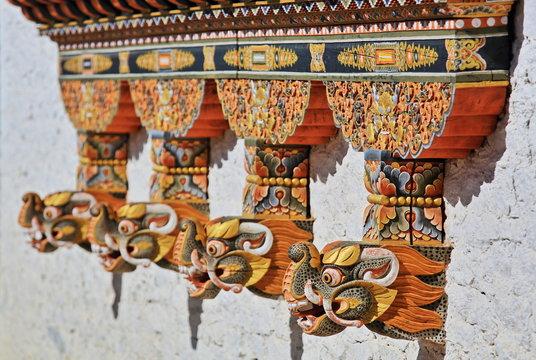 Dragon head on a monastery in Bhutan