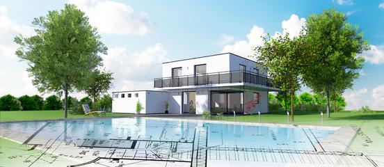 Esquisse d'une belle maison d'architecte moderne avec piscine et jardin Fototapete