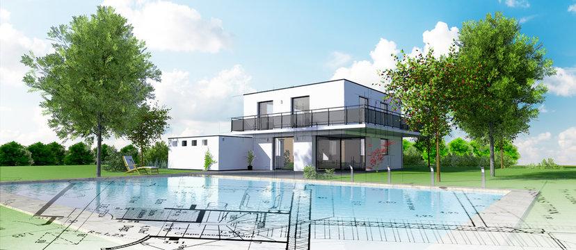 Esquisse d'une belle maison d'architecte moderne avec piscine et jardin