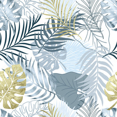 Vector seamless pattern blue watercolor and gold texture palm exotics and monstera leaves. Vector modern illustration. Colored endless background.