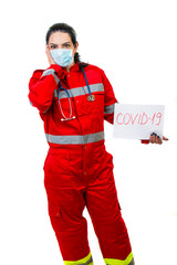 Amazed emergency doctor with covid19 sign