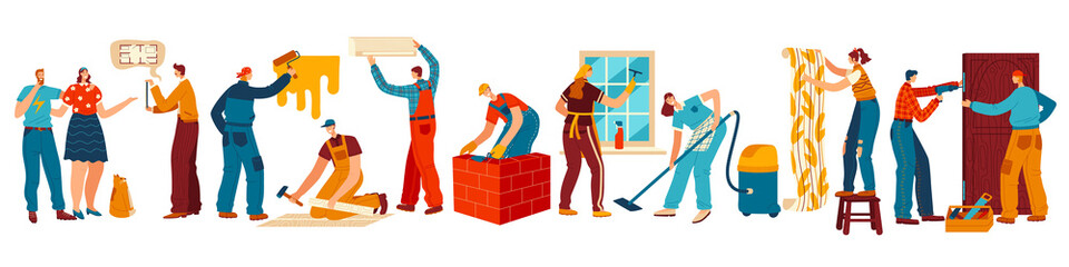 People renovating house, repair and maintenance service, vector illustration. Men and women repairing house, painting walls and cleaning floor. Builders and repairmen at work, cartoon characters