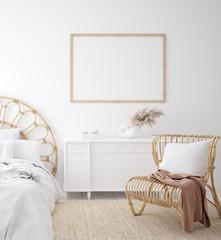 Wall Mural - Mockup frame in Coastal boho style bedroom interior, 3d render
