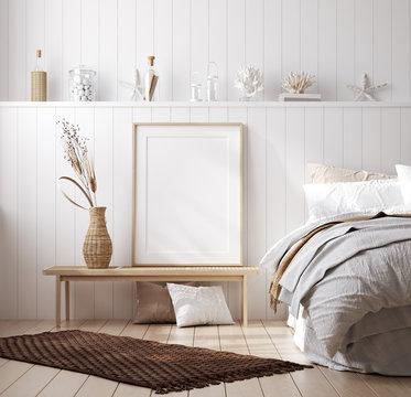 Mock up frame in cozy home interior background, coastal style bedroom, 3d render