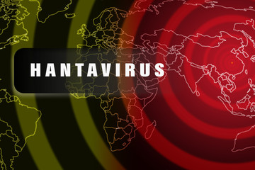 Hantavirus epidemic in China. World map with diagram rings of epidemic starting from China as a virus center outbreak