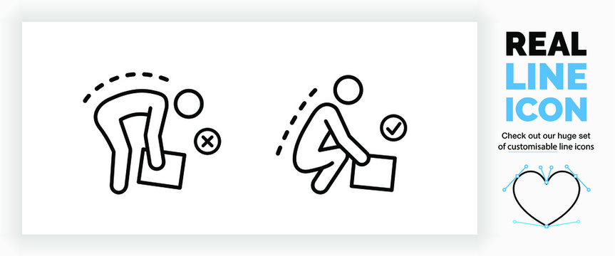 Editable real line icon of a stick figure person doing heavy lifting with a correct and incorrect posture picking up a big box in modern black lines on a clean white background as a EPS vector file