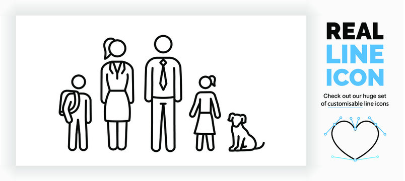 Editable real line icon of stick figure family with a son and his school bag and a working mom and dad in a suit with a tie and a daughter in a skirt with the pet dog sitting in black clean eps lines