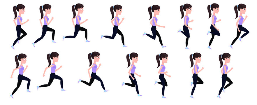 Full cycle animation of women's running. Young beautiful runner, in a cartoon style sprites for animation.