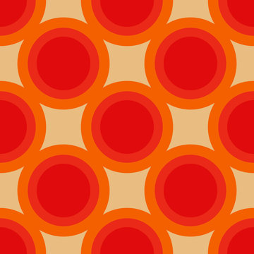 Circle geometric shapes. Vector EPS 10. Colorful digital illustration for textile design, packaging design. Wrapping paper print. Seamless pattern. Graphic design element. 70s funk style.