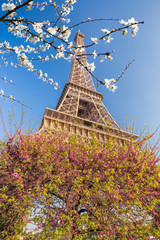 Wall Mural - Eiffel Tower with spring trees in Paris, France