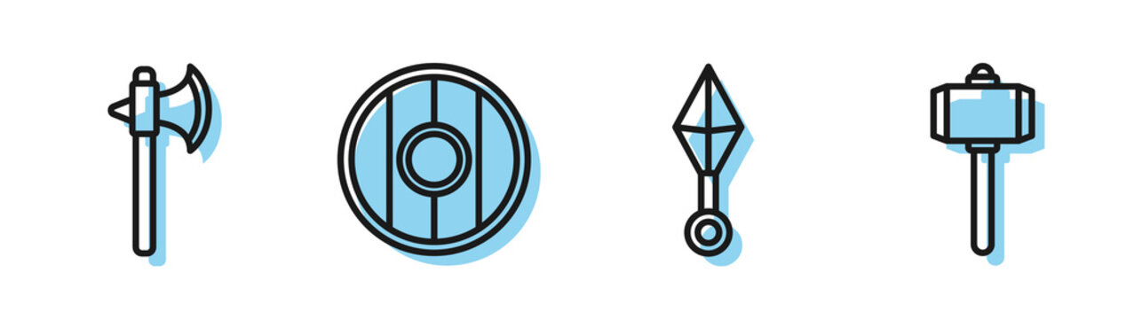 Set line Japanese ninja shuriken, Medieval axe, Round wooden shield and Battle hammer icon. Vector