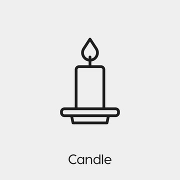 candle icon vector. Linear style sign for mobile concept and web design. candle symbol illustration. Pixel vector graphics - Vector.