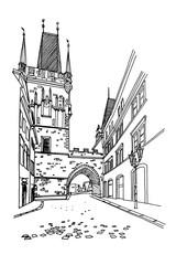 Wall Mural - vector sketch of Lesser Town Bridge Towers on Charles Bridge and Prague castel. Prague, Czech Republic, Bohemia.