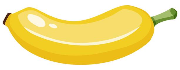 One yellow banana on white background