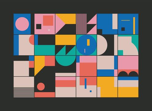 Bauhaus Abstract Vector Composition Design