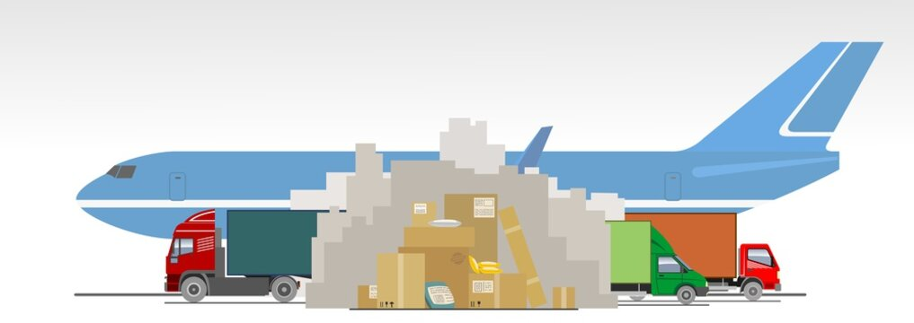 Delayed delivery of goods, parcels, packages, online purchases from China due to coronavirus. Poor mail, delivery interruptions. Mountains of boxes, trucks, airplane. Prohibition sign
