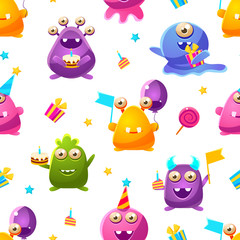 Cute Funny Monsters Seamless Pattern, Kids Birthday Party Design Element Can Be Used for Fabric, Wallpaper, Packaging, Web Page Vector Illustration