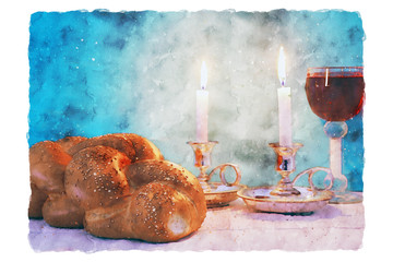 watercolor style illustration of jewish wine cup for wine. passover holiday and shabbat concept