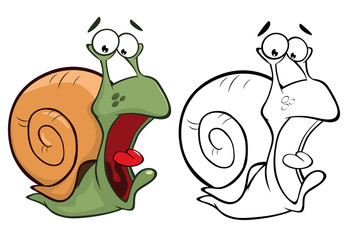 Photo sur Toile Chambre bébé Vector Illustration of a Cute Cartoon Character Snail for you Design and Computer Game. Coloring Book Outline Set