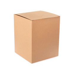Cardboard empty package box isolated on white background. Delivery carton box. Clipping path included.