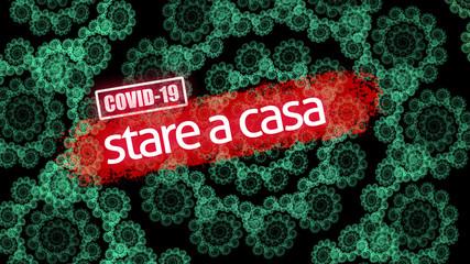 Coronavirus epidemic, words COVID-19 and stay home on fractal illustration that looks like corona virus. Novel coronavirus outbreak in China. COVID-19 infection concept.