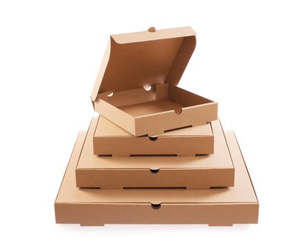 Pizza box for takeaway. Cardboard pizza empty boxes arranged in pyramid. Clipping path included. Stack.
