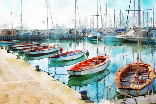 abstract watercolor style image of nautical concept with marina, sea and boats
