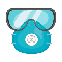 protection respiratory with safety goggles isolated icon vector illustration design