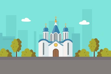 Church christian orthodox or catholic church in city landscape cartoon vector illustration for religion architecture. Christian church city building, famous temple landmark. Religious building. Fotomurales