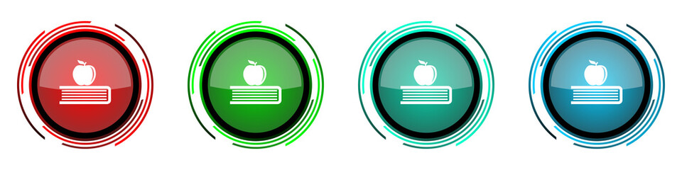 Apple round glossy vector icons, education, knowledge set of buttons for webdesign, internet and mobile phone applications in four colors options isolated on white background