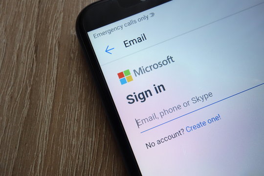 KONSKIE, POLAND - JUNE 17, 2018: Signing in for a Microsoft account on a new modern smartphone