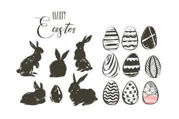 Hand drawn vector abstract graphic scandinavian collage Happy Easter cute illustrations greeting collection set with bunny silhouettes and easter eggs isolated on white background