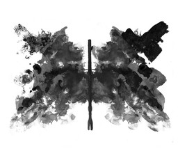 Fotorolgordijn Vlinders in Grunge Rorschach test ink blot illustration. Psychological test. Silhouette of black butterfly isolated.