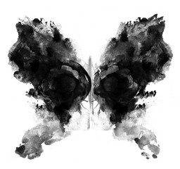 Photo sur Toile Papillons dans Grunge Rorschach test ink blot illustration. Psychological test. Silhouette of black butterfly isolated.