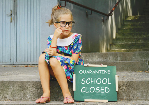 Coronavirus school closing, Quarantine. Unhappy girl missing her Friends Portrait