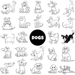 black and white cartoon dog characters large set
