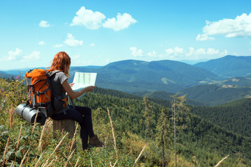 tourist girl at the Carpathians