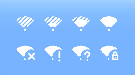 Set of white Wi Fi icons on blue background. Various coverage and network status. Disconnected, undefined, problem, blocked wireless network. Offline wifi status, bad or perfect connection.