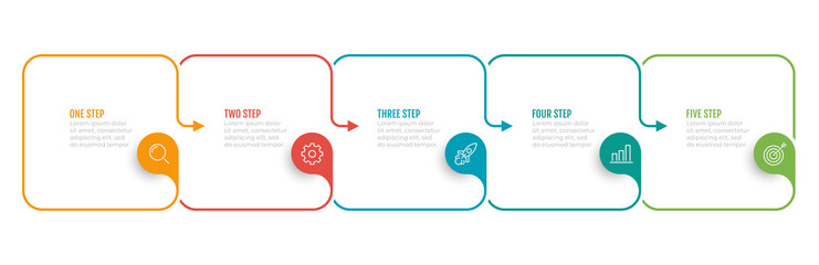 Timeline infographic template. Business concept with 5 number options, steps, square object and arrows. Vector illustration. Wall mural