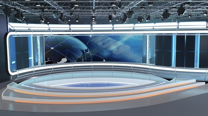 Obraz Virtual TV Studio News Set 7. 3d Rendering. Virtual set studio for chroma footage. wherever you want it, With a simple setup, a few square feet of space, and Virtual Set, you can transform any locati - fototapety do salonu